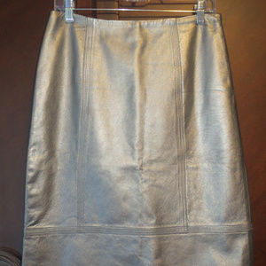 DANA BUCHMAN Metallic Pewter Leather Skirt 4